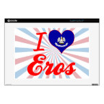 "I Love Eros, Louisiana Decal For 15"" Laptop"