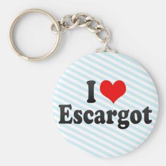 I Love Escargot Basic Round Button Keychain