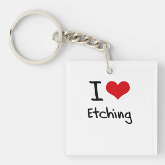 I love Etching Double-Sided Square Acrylic Keychain