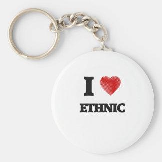 I love ETHNIC Basic Round Button Keychain