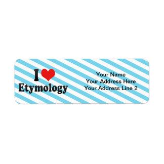 I Love Etymology Return Address Label
