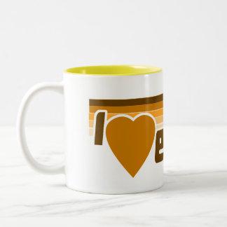 I Love Euchre Retro 70s Two-Tone Coffee Mug