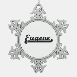 I love Eugene Oregon Classic Design Snowflake Pewter Christmas Ornament