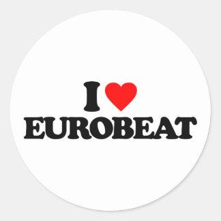 I LOVE EUROBEAT CLASSIC ROUND STICKER