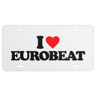 I LOVE EUROBEAT LICENSE PLATE