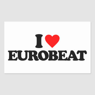 I LOVE EUROBEAT RECTANGULAR STICKER