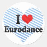 I Love Eurodance Round Stickers
