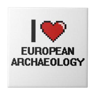 I Love European Archaeology Digital Design Small Square Tile