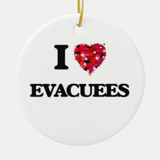 I love EVACUEES Double-Sided Ceramic Round Christmas Ornament