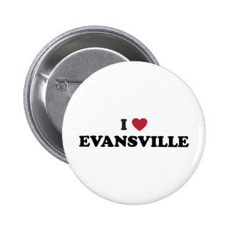 I Love Evansville Indiana Pinback Button