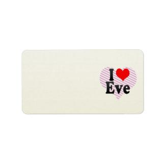 I love Eve Address Label
