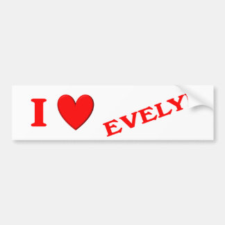 I Love Evelyn Bumper Sticker