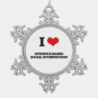 I Love Evidence-Based Social Intervention Snowflake Pewter Christmas Ornament
