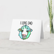 I Love Ewe Aquamarine Sheep Holiday Card