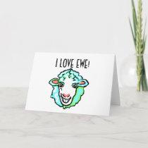 I Love Ewe Aquamarine Sheep Holiday Card