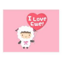 I Love Ewe Cute Sheep Pun Humor Postcard