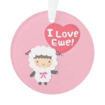 I Love Ewe Cute Sheep Pun Humor Room Decor Ornament