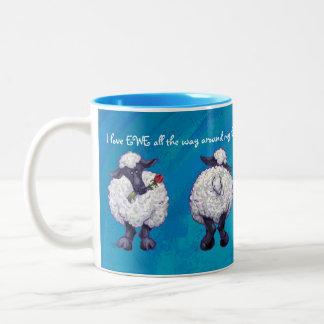 I love Ewe Heads and Tails Sheep Two-Tone Coffee Mug