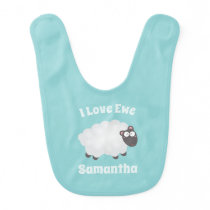 I Love Ewe Kawaii Cute Animal Funny Pun Humor Baby Bib