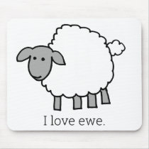 I Love Ewe Sheep Mouse Pad
