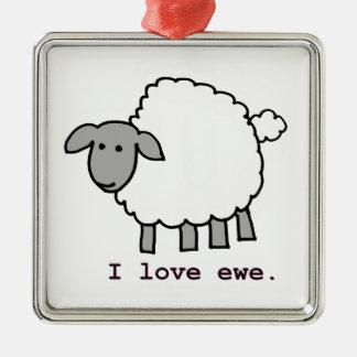 I Love Ewe Sheep Christmas Ornaments