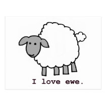 I Love Ewe Sheep Postcard
