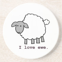 I Love Ewe Sheep Sandstone Coaster