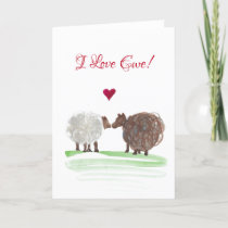 I love ewe swirlies sheep valentines day card