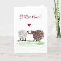 I love ewe swirlies sheep valentines day card
