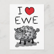 I Love Ewe! Valentines Day Holiday Postcard