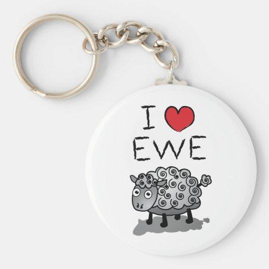 I Love Ewe! Valentines Day Keychain