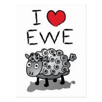 I Love Ewe! Valentines Day Postcard