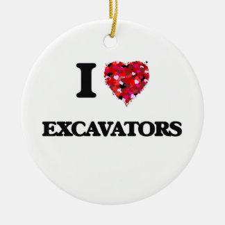 I love Excavators Double-Sided Ceramic Round Christmas Ornament