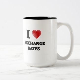 I love EXCHANGE RATES Two-Tone Coffee Mug