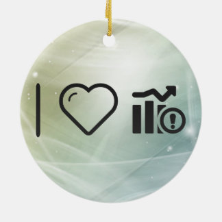 I Love Exclamation Rises Double-Sided Ceramic Round Christmas Ornament