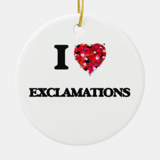 I love Exclamations Double-Sided Ceramic Round Christmas Ornament