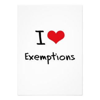 I love Exemptions Announcement