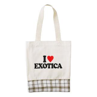 I LOVE EXOTICA ZAZZLE HEART TOTE BAG
