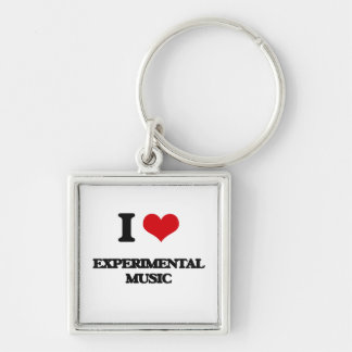 I Love EXPERIMENTAL MUSIC Silver-Colored Square Keychain