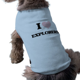 I love Explorers (Heart made from words) Doggie Tshirt