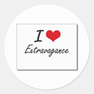I love extravagance classic round sticker