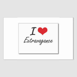 I love extravagance rectangular sticker