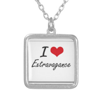 I love extravagance silver plated necklace