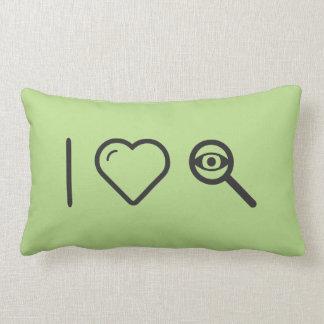 I Love Eye Examines Throw Pillows