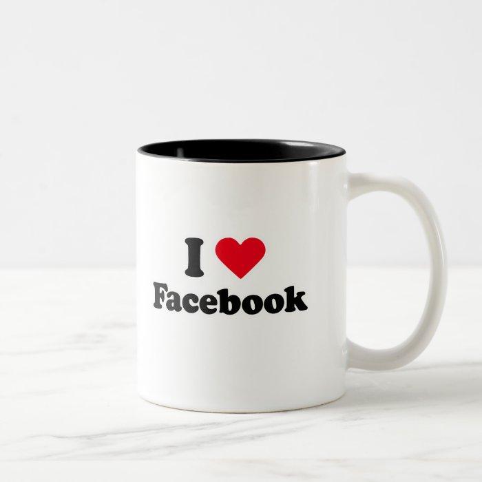 I love Facebook T-shirt Two-Tone Coffee Mug