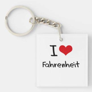 I Love Fahrenheit Double-Sided Square Acrylic Keychain