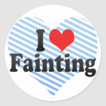 I Love Fainting Round Stickers