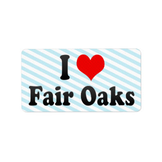 I Love Fair Oaks, United States Personalized Address Labels