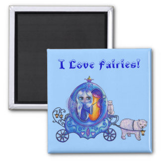 I love Fairies! Bubble Carriage, Fairy, Polar Bear 2 Inch Square Magnet