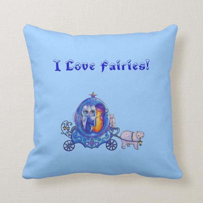 I love fairies! Fairy, Bubble Carriage, Polar Bear Throw Pillow